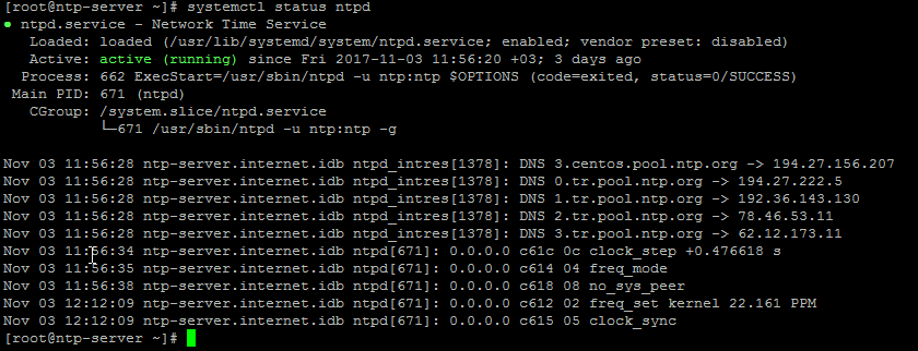 systemctl status ntpd